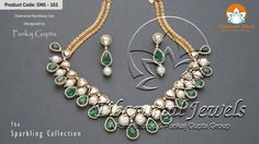 Diamond Necklace Set from Tibarumal Jewels designed by Pankaj Gupta; studded wwith Rose Cut Diamonds, Diamonds,Emeralds & Strung With Pearls, with this sparkling piece of ornament you are sure to steal the show.