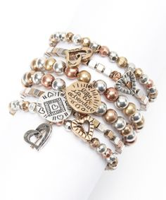 Brown Bead Charm Stretch Bracelet Set | Daily deals for moms, babies and kids