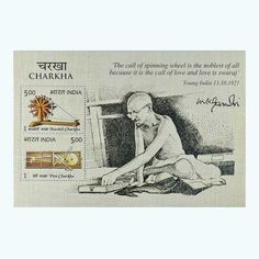 This beautiful Mahatma Gandhi Charkha Miniature Sheet was issued on 15th October 2015. These commemorative stamps on charkha symbolise Gandhiji's vision for Swarajya. Charkha was used for spinning thread from fibres. During his days of arrest at Yeravda Jail, Gandhiji developed a portable design of the Charkha and the two 5-Rupees stamps depict two kinds of Charkhas used by Mahatma Gandhi. Buy this fantastic Charkha Miniature Sheet Stamp at Mintage World just for Rs. 125! Sell Coins, Commemorative Stamps, British Armed Forces, Buy Stamps, Mahatma Gandhi, Mongolia, Cambodia, Laos, Spinning