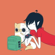 Marshall Lee and Cake playing video games