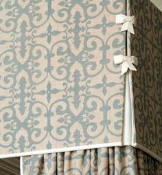 FERNEPARK FABRIC IN BLUE- A MODERN DAMASK Per designer, Mark D. Sikes: I'M A BIG FAN OF SUBTLE, MUTED LINEN FABRICS. I LOVE WHEN THEY ARE PRINTED ON A FLAX OR HEMP BACKGROUND. EACH PATTERN IN THE VEERE GRENNEY'S FABRIC COLLECTION COMES IN SOFTEST COLOR RANGE- PINK, LILAC, AQUA, BLUE, SAGE AND BROWN.