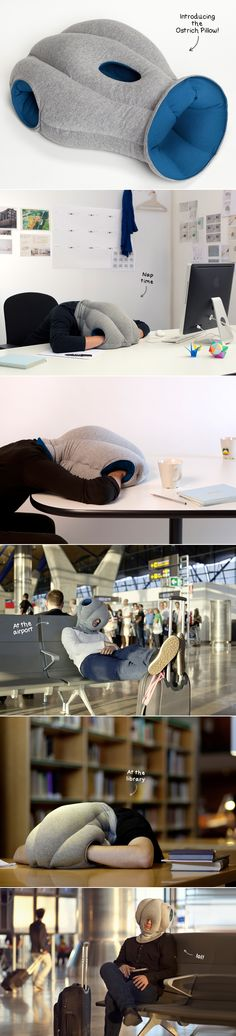 The Ostrich Pillow let's you take power naps on the go! Is it awful that I can totally see myself using all the time even in public? Is it even more terrible that I'm seriously considering buying one? Ill be THAT GIRL.