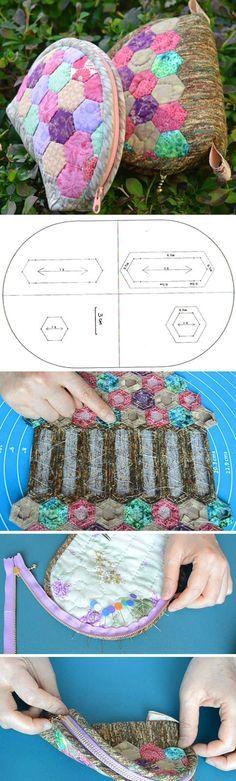 Hexagon Patchwork Purse Tutorial. How to Sew Photo Sewing Tutorial. http://www.handmadiya.com/2016/04/hexagon-patchwork-purse-tutorial.html