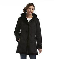 Jaclyn Smith Women's Hooded Microsuede Winter Coat