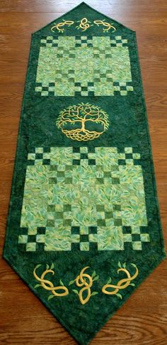 Beautiful and unique Celtic Tree of Life Quilted Table Runner