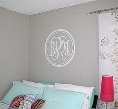 @ mandi hoy: 22 inch Circle and Dots Monogram Vinyl  Wall by decalmonograms, $25.00