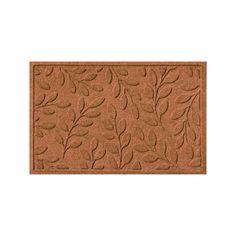 WaterGuard Brittany Leaf Indoor Outdoor Mat, Dark Brown