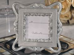 Classically Styled Silver Place Card Frame Favor