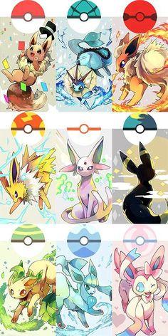 Pokémon Eevee   :   Illustration   Description   Eeveelution Pokeballs