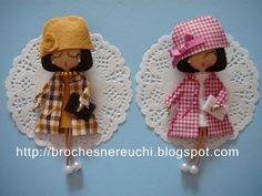 BROCHES NEREUCHI Diy Fashion Accessories, Polymer Clay Dolls, Sewing Appliques, Felt Brooch, Brooches Handmade, Felt Dolls, Cute Dolls, Clay Creations, Felt Crafts