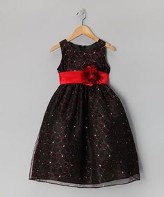 Take a look at this Black & Red Flower Glitter Dress - Toddler & Girls by Sophia Young on #zulily today!
