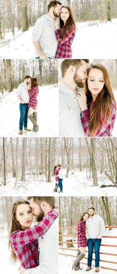 Emily Sacra Photography | Daniel & Kaitlin | Winter Engagement Session in the Woods | Snow Engagement Photos