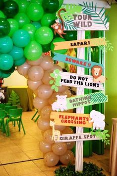 On the hunt for a darling animal safari birthday party? Kara's Party Ideas has the lions, tigers, and zebras for you! Check out all the adorable details! Jungle Theme Birthday, Jungle Theme Parties, Safari Theme Party, Safari Birthday Party, Baby Party, First Birthday Parties, Animal Birthday, Party Animal Theme, Zoo Party Food
