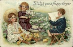 Tuck Easter Children Boy Draws Girls Chicks Flowers Embossed c1910 Postcard