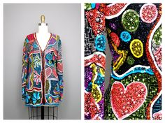 INCREDIBLE Heavily Beaded Jacket by Naeem Khan Riazee / BRIGHT Retro Sequin Embellished Funky Novelty Jacket by braxae on Etsy