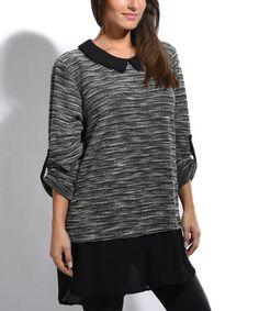 Loving this Black Stripe Sheer-Hem Hi-Low Top on #zulily! #zulilyfinds