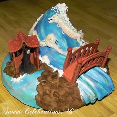 """Spirited away cake! One of my first """"win!""""s :-) - about 8 years ago by Laurie clarke www.sweetcelebrations.us #sugardome"""