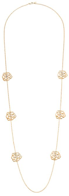 Piaget Rose neck-chain in 18K pink gold, set with 6 brilliant-cut diamonds (approx. 0.24 ct).      Via The Jewellery Editor.