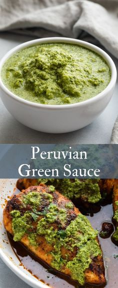 Peruvian green sauce (Aji Verde) is a fresh spicy green condiment from Peru and its fabulous drizzled on anything from the grill. Peruvian Dishes, Peruvian Recipes, Peruvian Cuisine, Chutneys, Peruvian Green Sauce Recipe, Aji Sauce, Green Pepper Sauce, Sauce Recipes, Cooking Recipes