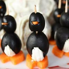 Photo recette : Pingouins au fromage à tartiner