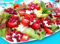 Labneh Tomato and Pomegranate Salad | Hadia's Lebanese Cuisine