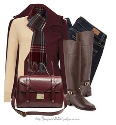 """""""Cream & Burgundy"""" by jaycee0220 on Polyvore featuring polyvore, fashion, style, John Lewis, Boohoo, Paige Denim, Tory Burch and Barbour"""
