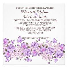 Butterfly Lavender Floral Garden Wedding Invite