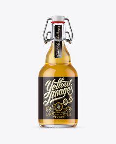 330ml Clear Glass Beugel Bottle Mockup