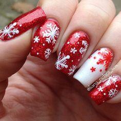 snowflakes christmas by liana_riches #nail #nails #nailart