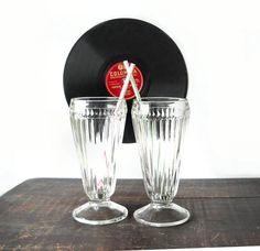 2 Vintage Milkshake Soda Fountain Glasses  by MomsantiquesNthings, $15.00