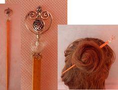 Heart Beaded Hair Stick, Barrette, Hair Pin, Hair Jewelry, Celtic Jewelry, Celtic Bun Stick, Handmade Wooden Hair Stick, Heart Jewelry Celtic Knot Jewelry, Celtic Necklace, Jewelry Knots, Heart Jewelry, Mermaid Pendant, Mermaid Jewelry, Mermaid Necklace, Whimsical Hair, Celtic Hair