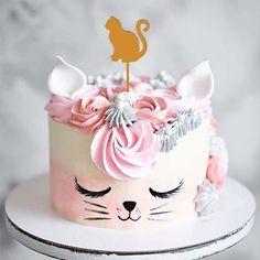 Birthday Cake For Cat, Themed Birthday Cakes, Birthday Cake Toppers, Themed Cakes, Birthday Dates, Kitten Cake, Cat Themed Parties, Cat Cake Topper, Creative Cake Decorating