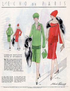 """""""Girdled hiplines much in evidence"""" Vintage Fashion Sketches, 1920s Jewelry, Pen And Paper, Party Fashion, Latest Fashion Trends, Vintage Style, Costumes, Drawings, Illustration"""
