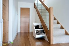 Project: Under Stairs Storage Client: Justin M. Location: London Description: Under stairs storage solution, with three pull out drawers. Staircase Storage, Staircase Makeover, Stair Storage, Hallway Storage, Staircase Ideas, Modern Staircase, Oak Stairs, Glass Stairs, House Stairs