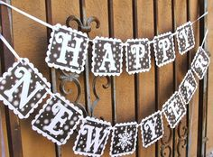 50 sale happy new year banner glittered black white hanging sign ready to ship