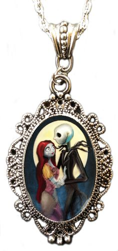 Jack & Sally Cameo Necklace Women's Silver By Alkemie & Artistry - Hell's Boutique