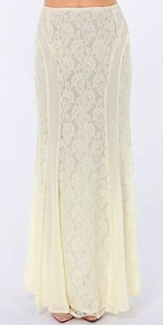 Cream Lace Maxi Skirt