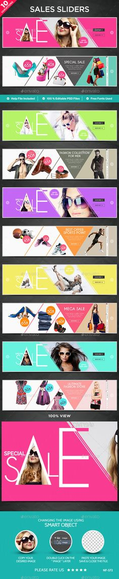 Buy Sales Sliders - 10 Designs by Hyov on GraphicRiver. Awesome quality slider template PSD file ready for your Services, products, campaigns.Each PSD file is layered and fu. Website Layout, Web Layout, Layout Design, Web Design, Web Banner Design, Banners, Fashion Banner, Sale Banner, Social Media Design