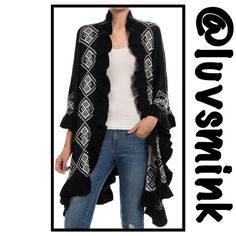 AZTEC PATTERN RUFFLED EDGE CARDIGAN Gorgeous black cardigan in a white Aztec pattern, with a Ruffles edging all around. A great transition piece, or for those cool evening walks. Pair with almost any type bottom and shoe type.  100% Soft Acrylic; 38 inches long. OSFM.  NO TRADES/HOLDS. PRICE IS FIRM, UNLESS BUNDLED. Boutique Sweaters Cardigans