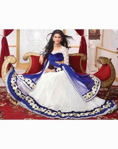 Ethnic Glam Lehenga whiteblueholly9505A