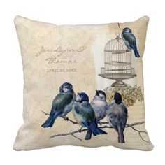 Shop Vintage Love Birds Birdcage Postage Personalized Throw Pillow created by AudreyJeanne. Personalised Cushions, Custom Pillows, Floral Throw Pillows, Decorative Throw Pillows, Wedding Pillows, Pillow Fight, Vintage Love, Bird Cage, Love Birds
