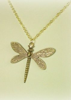 Sansa Stark Dragonfly Necklace - Antique Gold Game of Thrones