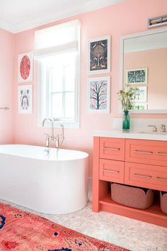 pink bathroom Gorgeous pink and orange girls bathroom boasts an orange and pink vintage runner placed on marble floor tiles in front of an orange washstand accented with satin nickel pulls and a white quartz countertop. Bad Inspiration, Bathroom Inspiration, Pink Bathrooms Designs, Luxury Bathrooms, Modern Bathrooms, Girl Bathrooms, Coastal Bathrooms, Small Bathrooms, Design Apartment