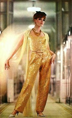 CHANEL, Jours de France August 1964 vintage fashion style color photo print ad model magazine designer couture 60s gold sequin harem pantsuit pants shell top