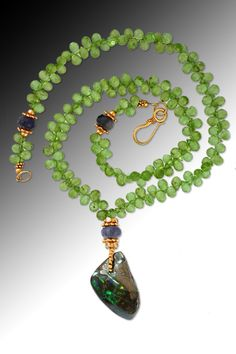 Australian boulder opal on faceted peridot drops and 18K gold (SOLD)