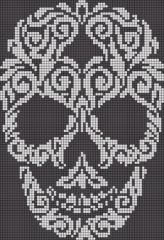 60 ideas knitting charts skull alpha patterns for 2019 Crochet Skull Patterns, Beading Patterns Free, Cross Stitch Patterns, Cross Stitch Skull, Knitting Charts, Knitting Patterns, Modele Pixel Art, Bag Crochet, Halloween Cross Stitches