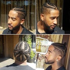 Go'on get it then Omarion! Mr O, who normally wears his hair in a tapered undefined fro, took things to the next level with a full on cornrow protective style/man bun. Cornrows on men are nothing n… Boy Braids Hairstyles, My Hairstyle, Dreadlock Hairstyles, Black Men Haircuts, Black Men Hairstyles, Cornrows, Braid Styles For Men, Braided Man Bun, Braids For Boys