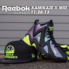 Available 11/26/13- Reebok: Kamikaze II Mid (M,GS) -  Nocturnal /Neon Yellow and New Era Seattle Supersonics NBA Snapback at jimmyjazz.com #jimmyjazz #trendingnow #reebokclassics #Kamikaze #WeRClassic #WeRNYC #igsneakercommunity #Newera #SeattleSupersonics #Snapback #NBA