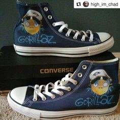 """We love all of our happy customers ❤ #Repost @high_im_chad  ・・・  """"I'm a pale imitator of a boy in the sky.  With a cap in his hand, and a knot in his tie."""" In celebration of their new album announcement, I decided to great my own @Gorillaz converse.    Huge shout out to @bagginsshoes for this amazing work!    #Gorillaz  #converse  #gorillazconverse"""