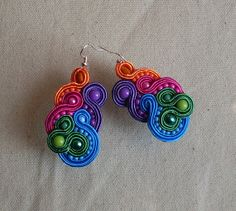 RAINBOW SOUTACHE EARRINGS by DotKropkaDot on Etsy, $24.00